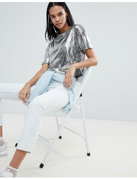 Weekday   T Shirt Court En Sequins Argentés by Weekday