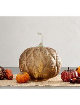 Rustic Leaf Glass Pumpkin Candleholder by Pottery Barn