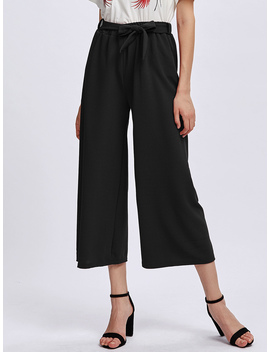 Self Tie Wide Leg Pants by Romwe