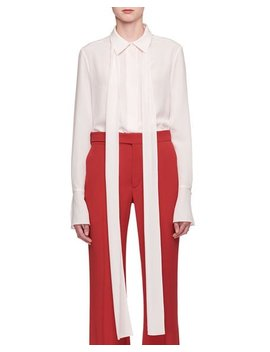 Button Front Long Sleeve Silk Crepe De Chine Shirt With Necktie by Chloe