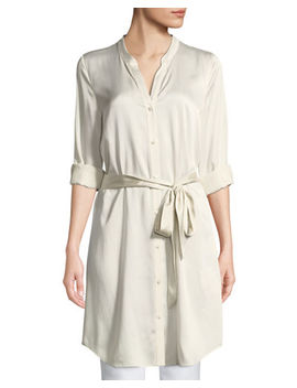 Silk Charmeuse Button Front Long Shirt by Eileen Fisher