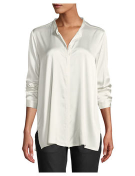 Silk Charmeuse Mandarin Collar Shirt by Eileen Fisher