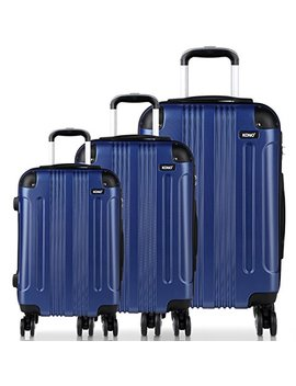 """Kono Luggage Sets Abs Hard Shell Suitcases 3 Pieces 20"""" 24"""" 28"""" Inches 4 Wheels Suitcase (20""""+24""""+28"""" New Navy) by Kono"""