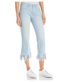Anika Frayed Hem Crop Flare Jeans In Bleach Vintage by Mavi