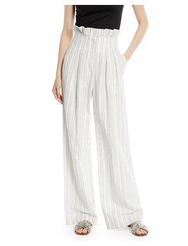High Waist Striped Wide Leg Pants by Rebecca Taylor