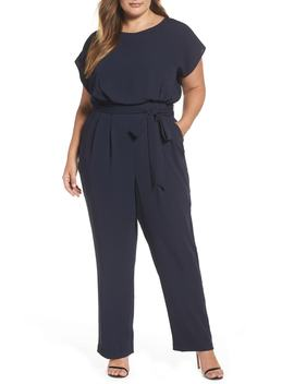 Cap Sleeve Crepe Jumpsuit by Eliza J
