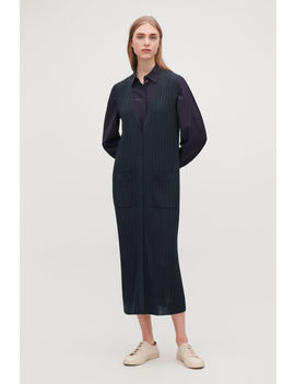 Long Ribbed Knit Wool Cardigan by Cos