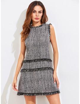 Kleid Mit Fransen Und Reißverschluss Hinten by Shein