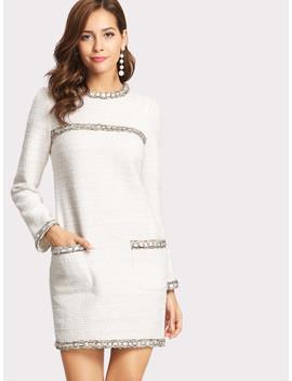 Whipstitch Trim Tweed Kleid by Shein