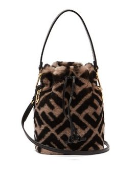 Mon Tresor Logo Print Shearling Bucket Bag by Fendi