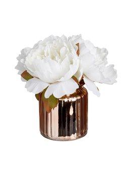 Wilko Artificial Peonies In Glass Vase Rose Gold by Wilko