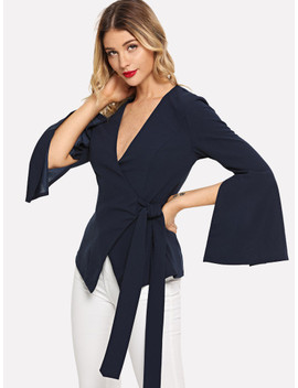 Slit Sleeve Deep V Neck Wrap Coat by Shein