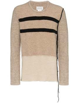 Maison Margielastripe Detail Jumperhome Men Maison Margiela Clothing Knitted Sweaters by Maison Margiela