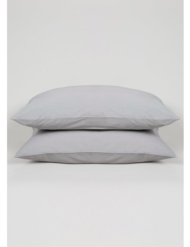 100 Percents Cotton Percale Housewife Pillowcases (200 Thread Count) by Matalan