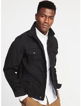 Built In Flex Black Denim Jacket For Men by Old Navy