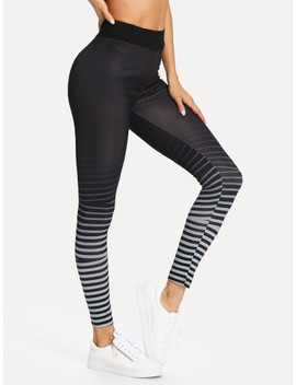 High Waist Ombre Stripe Leggings by Shein