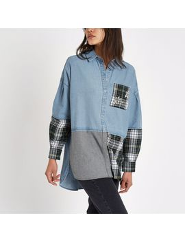 Blue Check Diamante Patchwork Denim Shirt by River Island