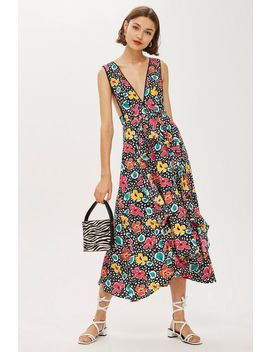 Petite '80s Floral Pinafore Dress by Topshop