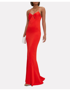 Diamond Cutout Red Dress by Galvan