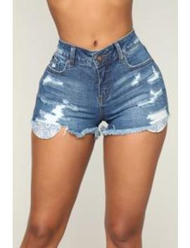 Needlepoint Distressed Shorts   Medium Blue Wash by Fashion Nova