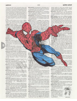 Marvel Comics Spider Man On Dictionary Page Print by Mikes Mixed Bag