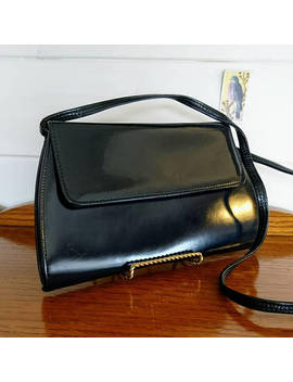 1980s Black Adjustable Handbag, Vintage Black Handbag, Retro Black Shoulder Bag, 1980s Vintage Black Handbag, Simple Black Retro Handbag by Miss Pigeon Vintage