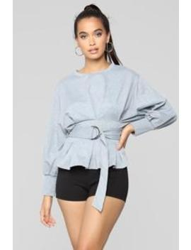 City Babe Belted Top   Heather Grey by Fashion Nova