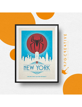 Spiderman : New York   Marvel | Movie Poster | Digital Print | Geek Gift | Marvel Gift | Homemade Wall Art | Geek Decor by Rpg Creative