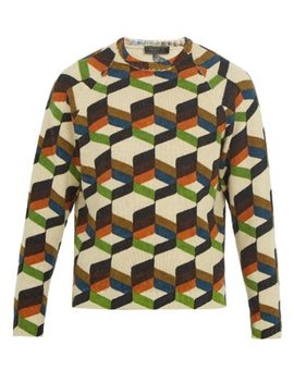Geometric Print Wool Sweater by Prada