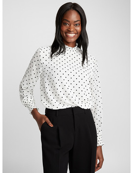 Flocked Polka Dot Blouse by Contemporaine Contemporaine Daniel Wellington Matt & Nat Eau Contemporaine