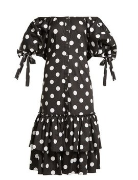 Nella Off The Shoulder Polka Dot Dress by Caroline Constas