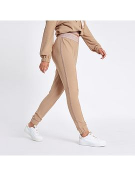 beige-rvid-tape-jogging-bottoms by river-island