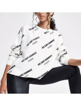 White 'Rue Saint Dominique' Print Sweatshirt by River Island