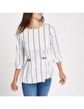 White Stripe Button Waist Loose Fit Top by River Island