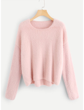 SheinDrop Shoulder Fluffy Sweater by Shein