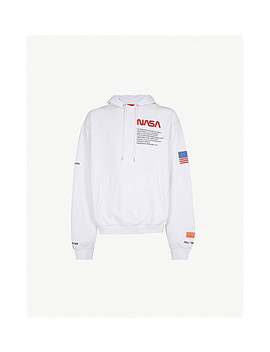 Text Embroidered Cotton Jersey Hoody by Heron Preston