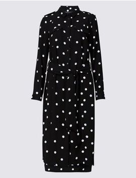 Spotted Long Sleeve Shirt Midi Dress by Marks & Spencer