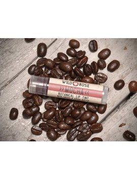Natural Lip Tint Mocha Organic Cocoa + Coffee   Mica Free Botanical Lip Color   .15 Oz Stocking Stuffer by Wild Rose Herbs