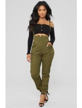 Getting Down To Business Overall Pants   Olive by Fashion Nova