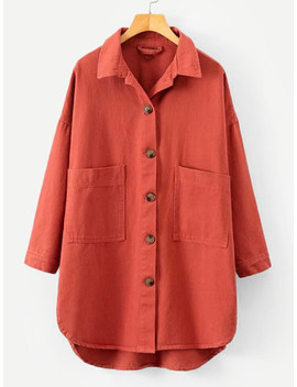 Drop Shoulder High Low Curved Hem Coat by Shein