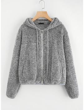 SheinZip Up Fuzzy Hoodie Jacket by Shein