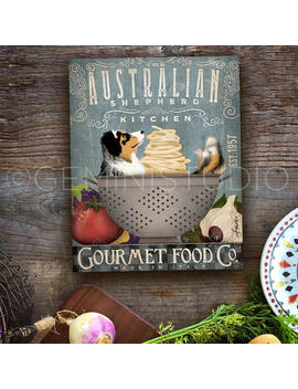 Australian Shepherd Aussie Dog Kitchen Artwork On Gallery Wrapped Canvas By Stephen Fowler by Geministudio