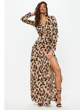Robe Longue Marron Imprimé Léopard by Missguided