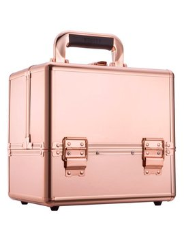 "Ollieroo Makeup Train Case Rose Gold 9.8"" Aluminum Makeup Cosmetic Artist Organizer With Lock by Ollieroo"