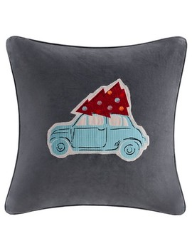 "Gray Holiday Velvet Drive Throw Pillow (20""X20"") by Target"
