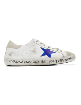 White Hand Painted Skate Superstar Sneakers by Golden Goose