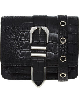 Black Reptile Pattern Shoulder Bag by Cxl