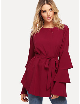 Self Tie Waist Tiered Sleeve Blouse by Sheinside