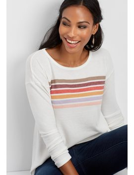 Rainbow Stripe Tunic Pullover by Maurices