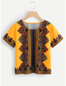 Flower Print Tribal Top by Shein